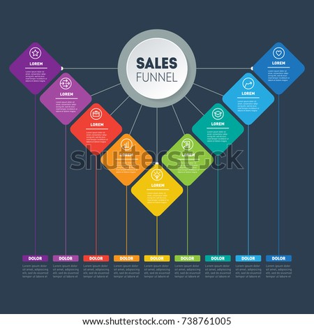 Infographic Sales Pipeline Vector Presentation Business Stock ...