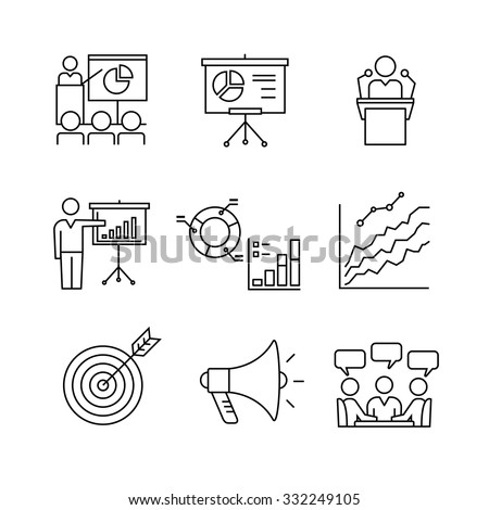 Business presentation, education, seminar, lecture, speech analytics and statistics thin line art icons set. Modern black symbols isolated on white for infographics or web use.