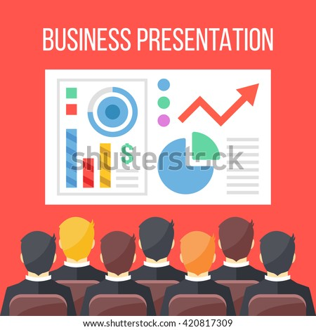 Business presentation flat illustration. Business conference, business meeting, seminar concepts. Sitting businessmen and board with infographics, data, chart. Creative flat design vector illustration - stock vector