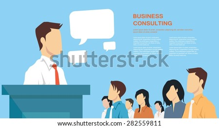 Business presentation, giving a speech concept, leadership in business - stock vector