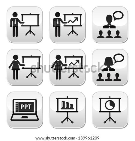 Business presentation, lecture, speech vector buttons - stock vector