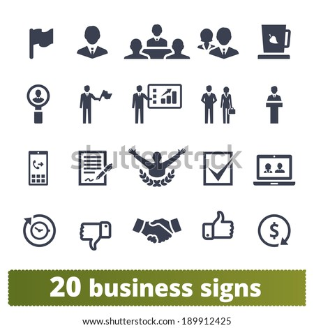 Business, presentation, management, human resources and finance: vector icons set. - stock vector