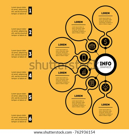 Business presentation infographic 6 options web stock vector hd business presentation or infographic with 6 options web template of a chart mindmap or ccuart Choice Image
