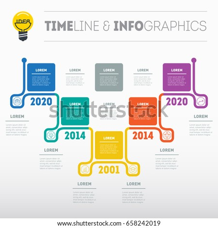 Timeline Infographics Design Template 7 Options Stock Vector