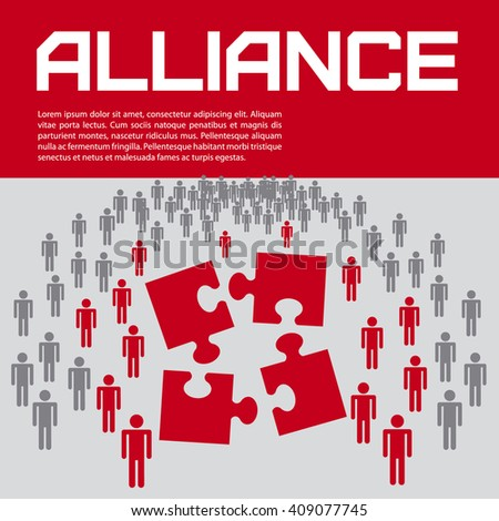 Business presentation - puzzle, alliance, cooperation, teamwork. Vector illustration. - stock vector