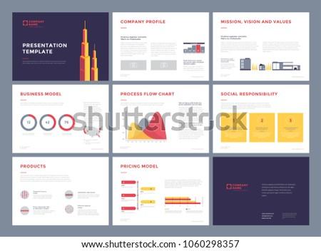 business presentation templates slideshow vector infographic stock