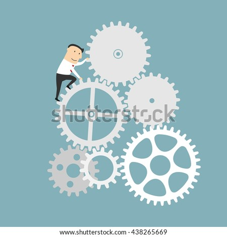 Business process and financial mechanism concept design. Businessman is turning a gear system. Cartoon style - stock vector