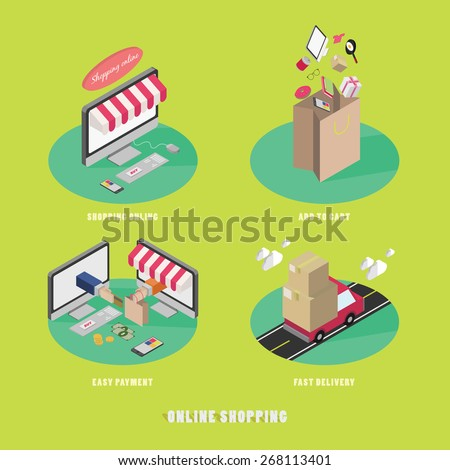 Business process concept of online internet shopping payment delivery isometric icons set vector illustration - stock vector
