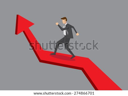 Business professional walking up growing arrow chart. Vector illustration for business growth concept isolated on plain grey background.