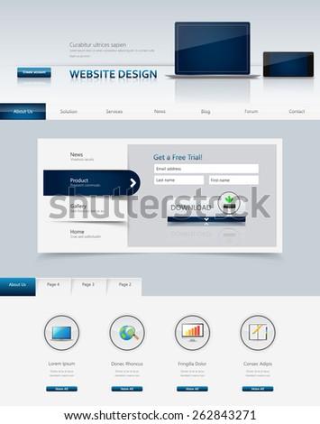 Business Professional Website Template Design Eps 10, Vector illustration.  - stock vector