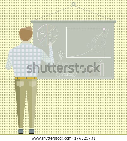 Business project Startup strategy Businessman making office presentation development and launch a new innovation product on a market concept Flat design vector illustration - stock vector