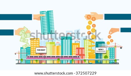 business property investment .business finance and investment  concept .smart city.Investor.Capital.downtown.electric train.transportation.real estate investment.  - stock vector