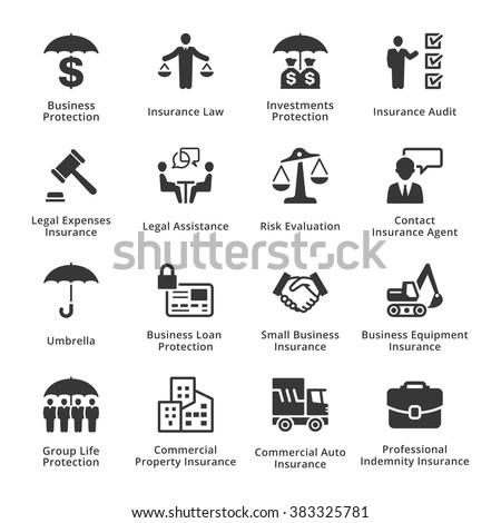 Business Protection Icons - stock vector