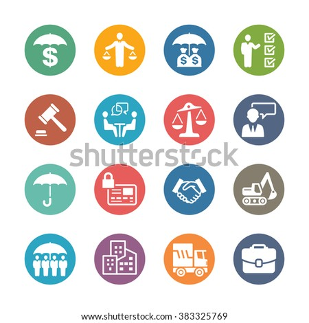 Business Protection Icons - Dot Series - stock vector