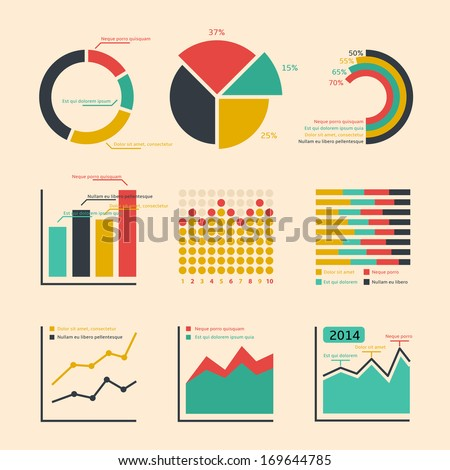 Business ratings graphs and charts infographic elements isolated vector illustration - stock vector