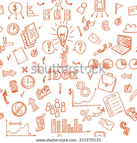 Business red doodles seamless pattern. vector illustration - stock vector
