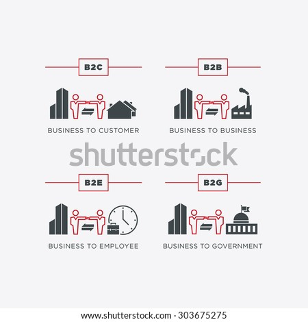 Business relations icon set - stock vector