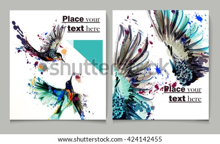 Business report brochure  design template vector cover presentation abstract style with watercolor birds from spots - stock vector