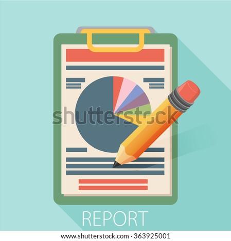Business report paper. Modern vector illustration. Flat style design - stock vector