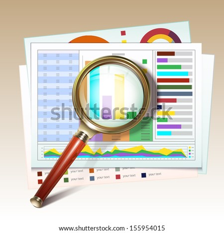 Business report with magnifying glass. Search icon