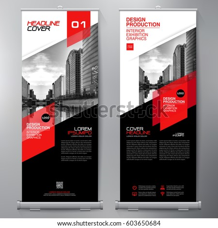Business roll up standee design banner stock vector for Interior design banner images