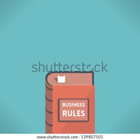 Business Rules book with bookmark with free space for your text - company business rules etc. - stock vector