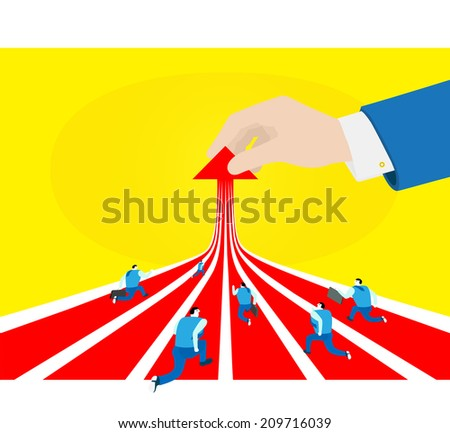 Business: Running to success - stock vector