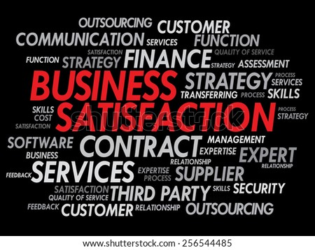 Business satisfaction words cloud concept - stock vector