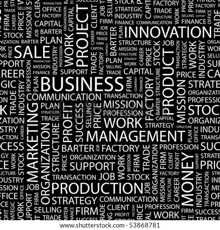 BUSINESS. Seamless vector background. Wordcloud illustration.