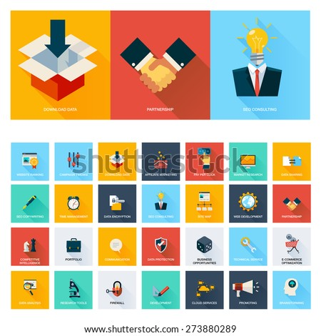 Business, Search Engine Optimization Icon Set - stock vector