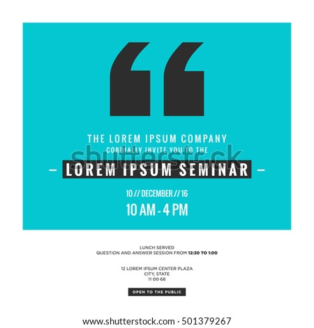 Business seminar invitation design template with stock vector business seminar invitation design template with time date and venue details thecheapjerseys Images