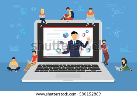 Business seminar speaker presentation and professional training about marketing, sales and e-commerce. Flat concept illustration of young people sitting on big laptop and attending public conference