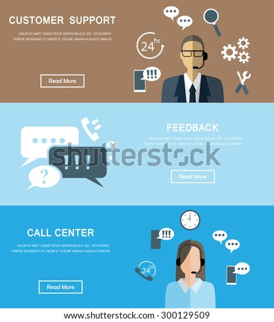 business service banners set. There are customer support, call center and feedback assistant. used for one page website, business data, web design, cover page, brochure template. vector illustration - stock vector
