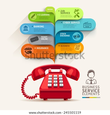 Business service icons and telephone with bubble speech template. can be used for workflow layout, diagram, number options, step up options, web design, banner template, infographics. - stock vector