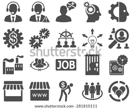 Business, service, management icons. These flat symbols use gray color. Images are isolated on a white background. Angles are rounded. - stock vector
