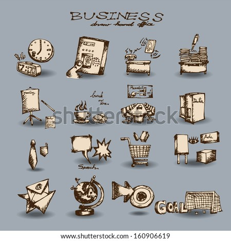 Business set  Hand drawn outline artwork - stock vector