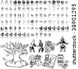 Business set of black sketch. Part 5-2. Isolated groups and layers. - stock photo