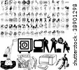 Business set of black sketch. Part 4-2. Isolated groups and layers. - stock vector