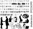 Business set of black sketch. Part 12-3. Isolated groups and layers. - stock vector