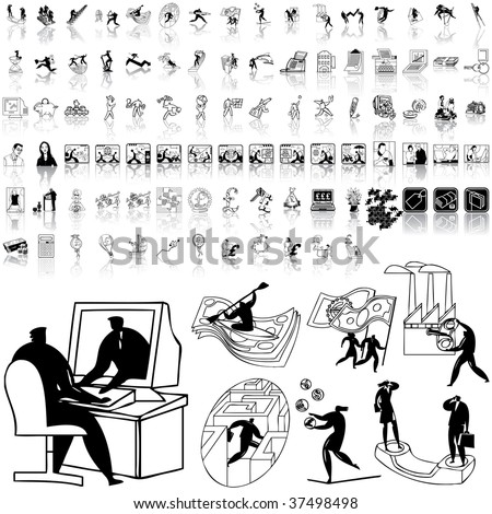 Business set of black sketch. Part 11-0. Isolated groups and layers. - stock vector