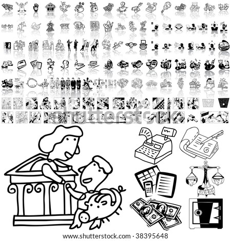 Business set of black sketch. Part 1-1. Isolated groups and layers. - stock vector