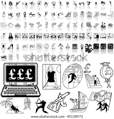 Business set of black sketch. Part 11-5. Isolated groups and layers. - stock vector