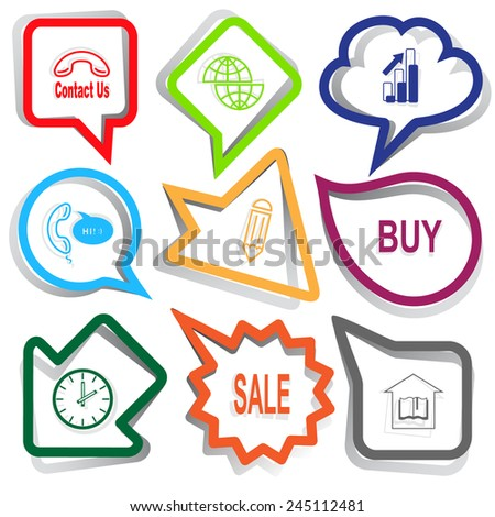 Business set. Paper stickers. Vector illustration. - stock vector