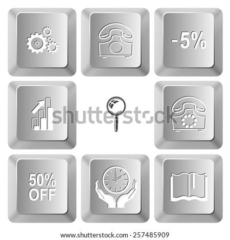 Business set. Vector set computer keys. - stock vector