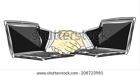 business, shown by handshake between two people from inside the laptop. - stock vector