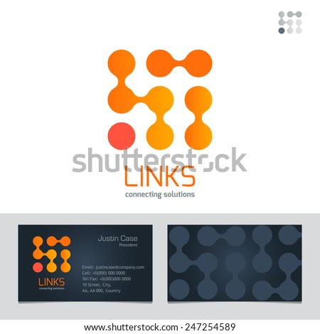 Business Sign & Business Card vector design template. Vector graphics represent links, connections, energy. Modern technology symbol concept. Brand visualization, corporate identity template. Editable - stock vector