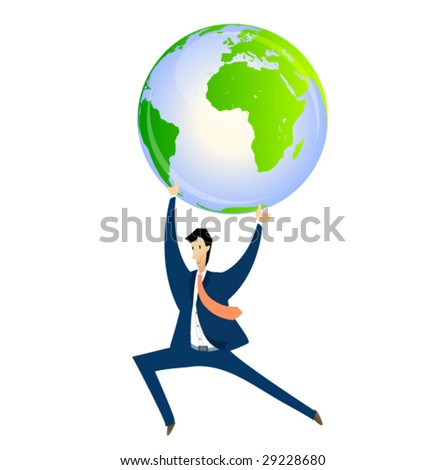 business sign #3 - man holding the globe - stock vector