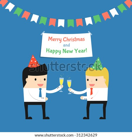 Business situation.Businessman celebrates Christmas and the New 
