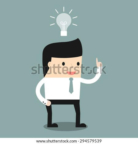 Business situation. Businessman get a new idea. Vector illustration. - stock vector