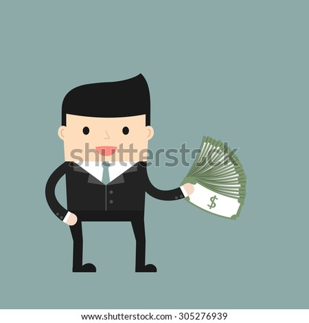 Business situation. Businessman holding dollars. Concept of success and big profits. Vector illustration. - stock vector